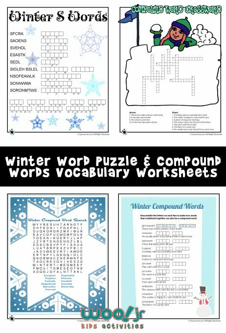 Winter Word Puzzle Amp Compound Words Vocabulary Worksheets