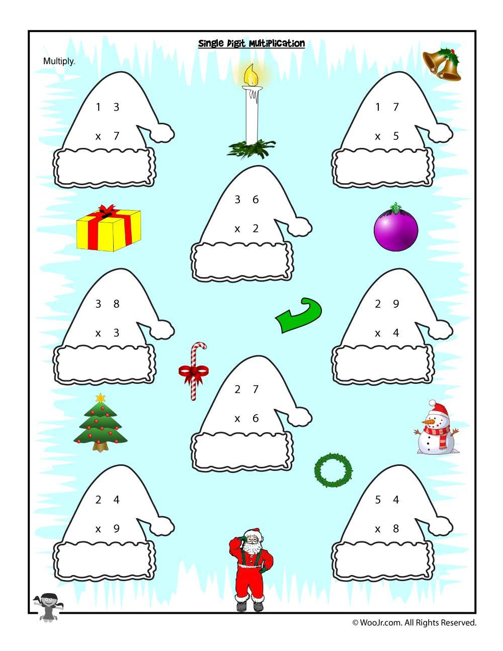 Single Digit Multiplication Christmas Worksheet