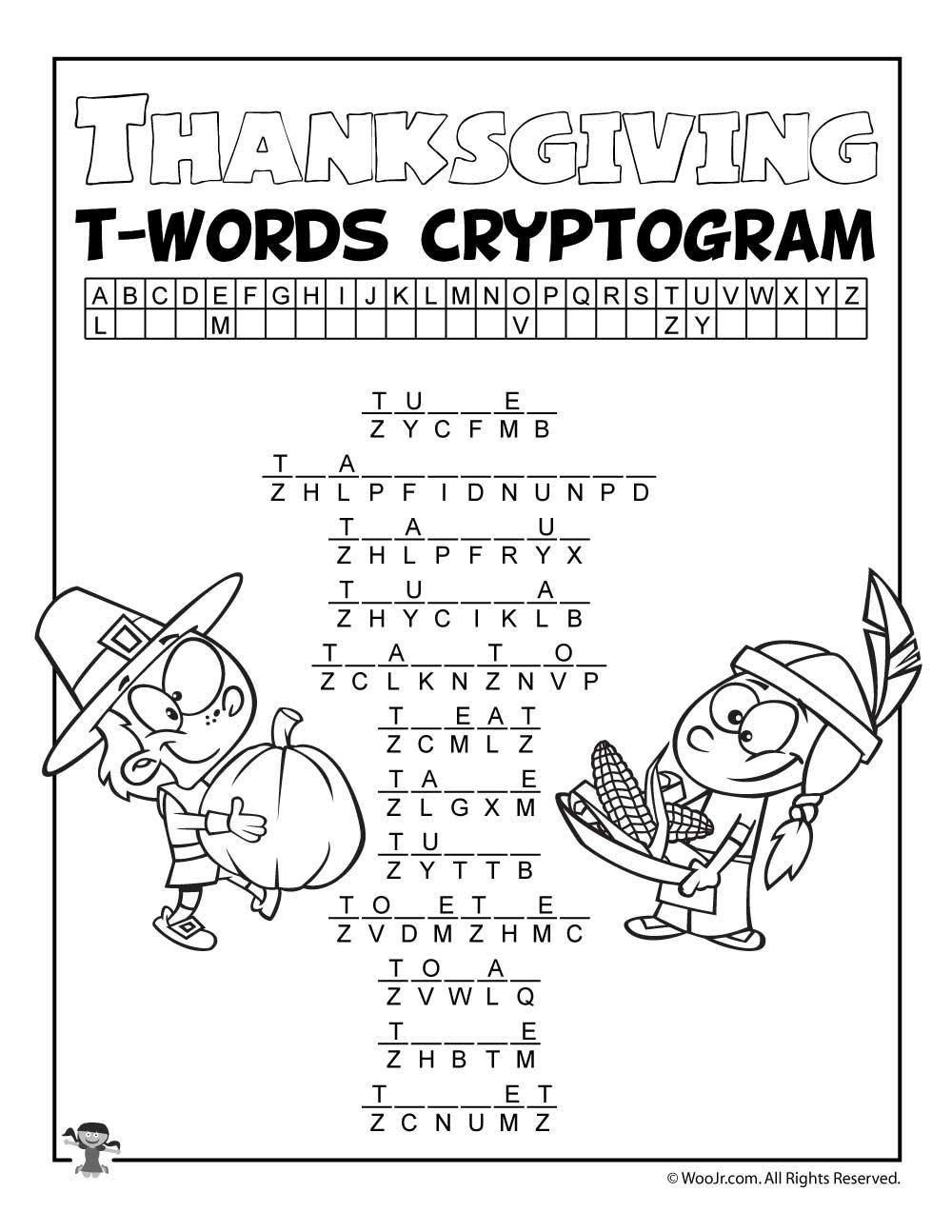 Thanksgiving Letter T Words Cryptogram