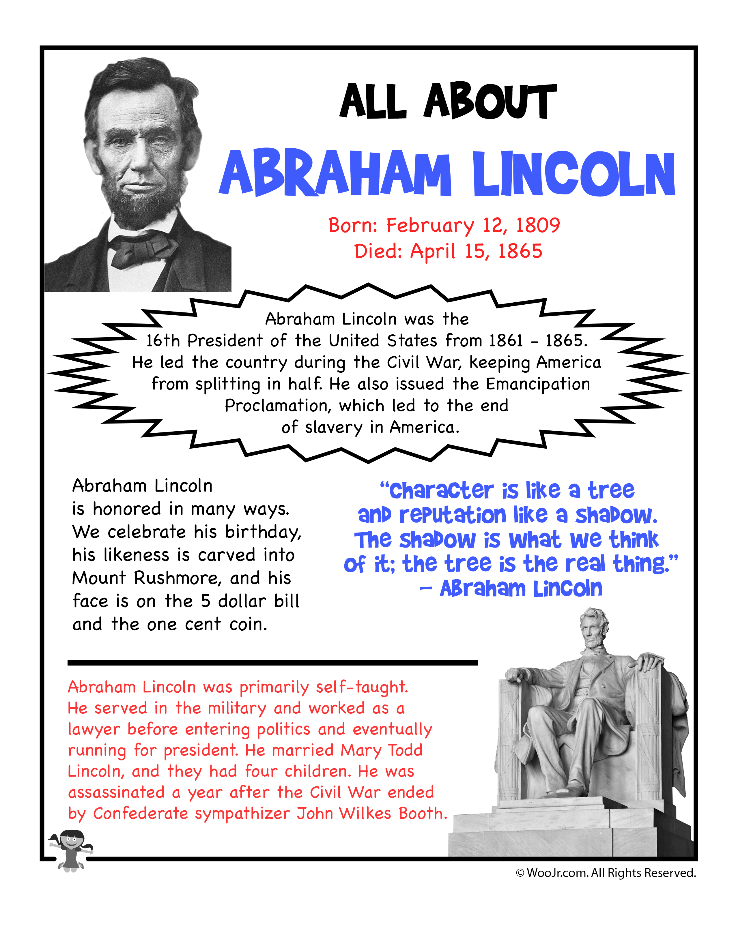 Abraham Lincoln Fact Sheet Printable