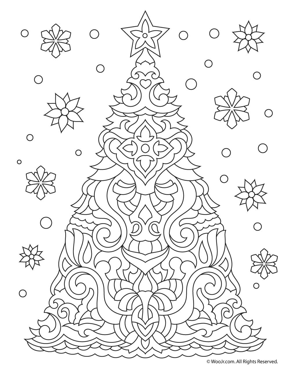 Christmas Tree Adult Coloring Page | Woo! Jr. Kids Activities | christmas coloring sheets for adults