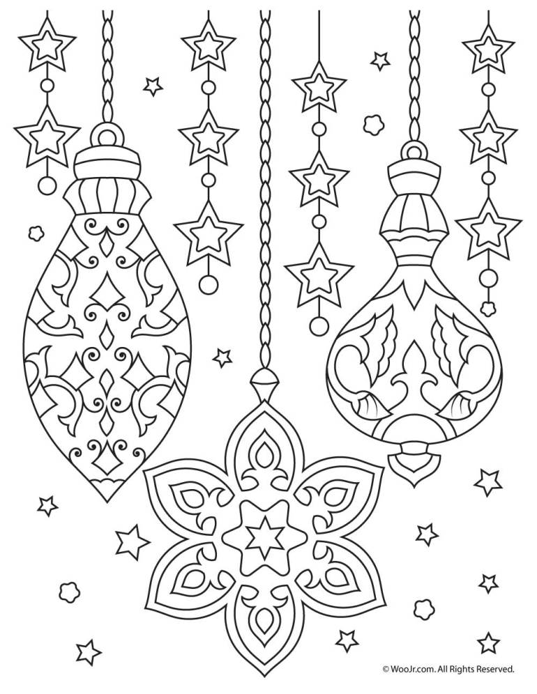 Christmas Ornaments Adult Coloring Printable   Woo! Jr ...   free printable christmas coloring pages for adults