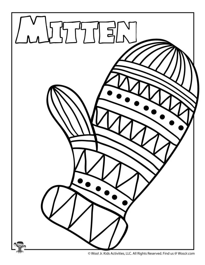m is for mitten coloring page  woo! jr. kids activities