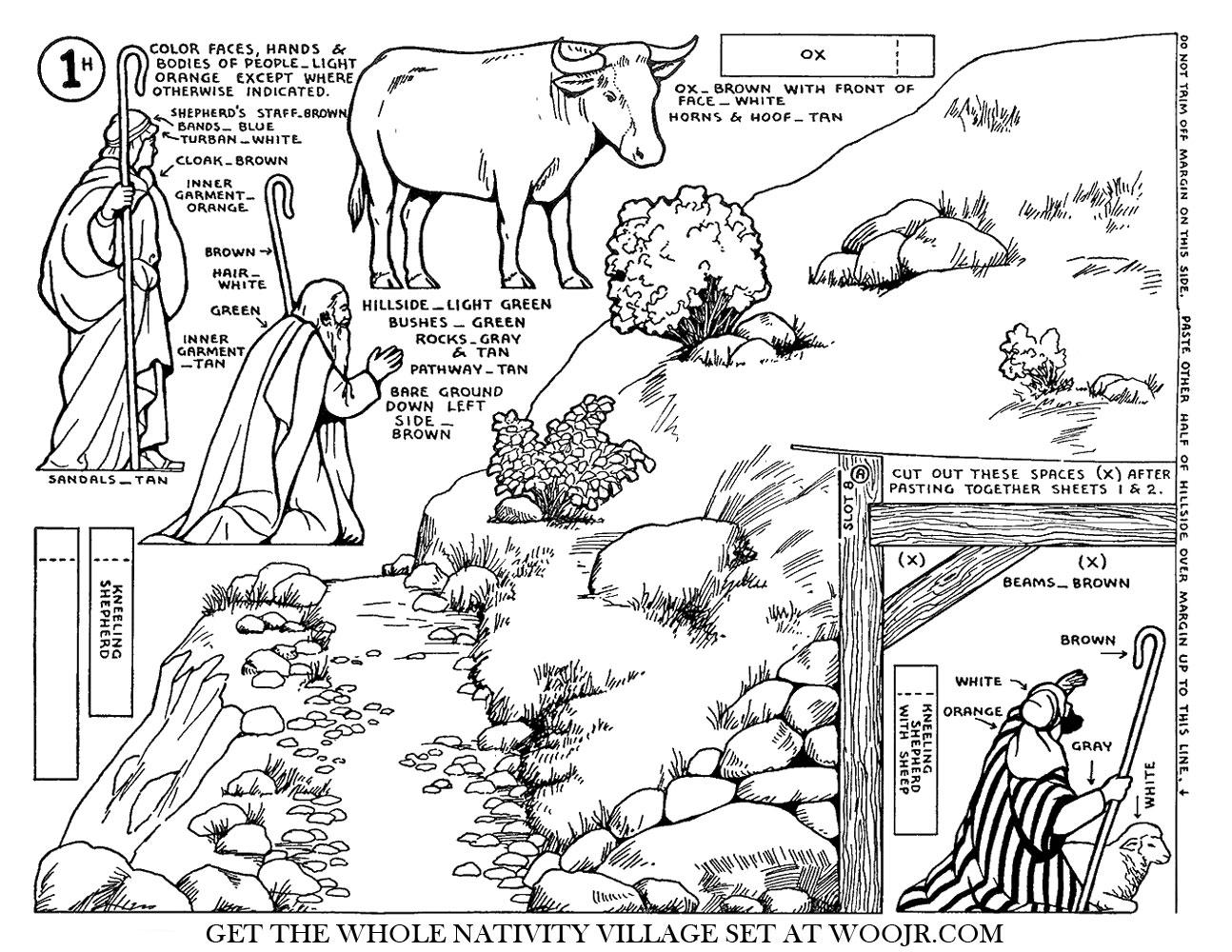 Shepherd Sheep Amp Ox On Hillside Nativity Scene