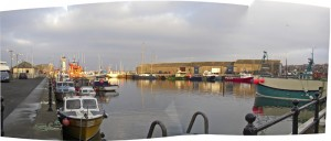 Autostitch panorama of Kirkwall harbour - click for larger image