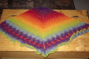 Rainbow Swallowtaill Shawl, ready for blocking