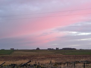 Even the sky to the North was coloured rosy pink