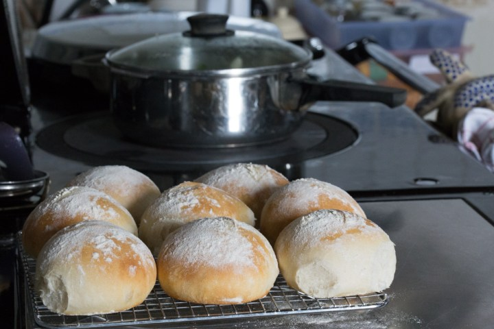 Soup cooking on the Aga, rolls cooling ditto