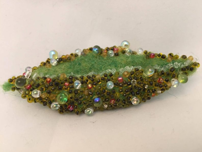 4. Felted and beaded leaf brooch