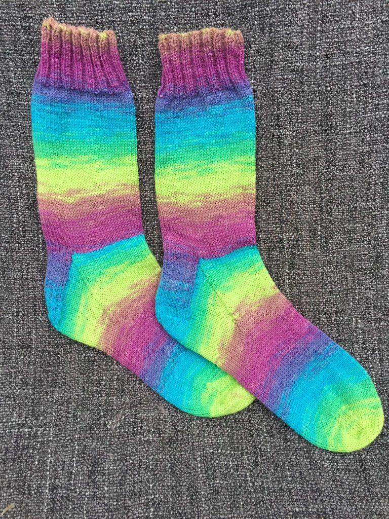 134) Multi stripe, hand knitted socks