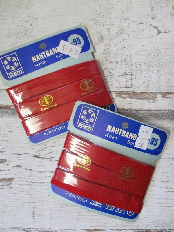 Nahtband Baumwolle Indanthren rot 14mm 5m - Woolnerd