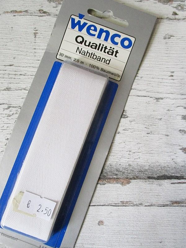 Nahtband Wenco weiß Baumwolle 30mm 2,5m - Woolnerd