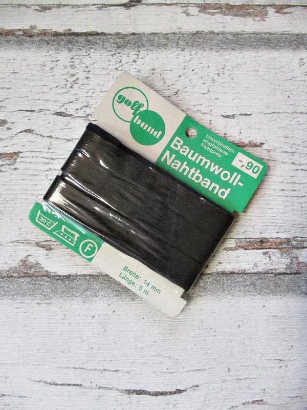 Nahtband golfband schwarz Baumwolle 14mm 5m - Woolnerd