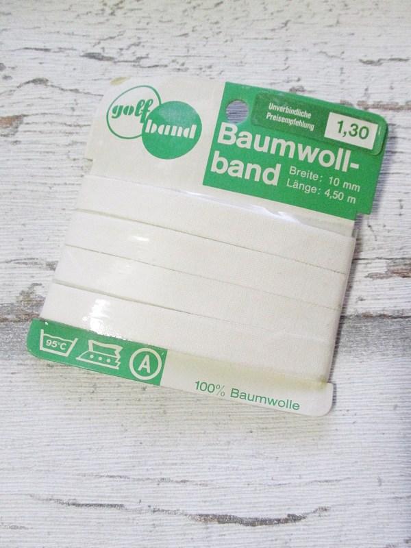 Baumwollband Haushaltsband golfband Baumwolle weiß 10mm 450cm - Woolnerd