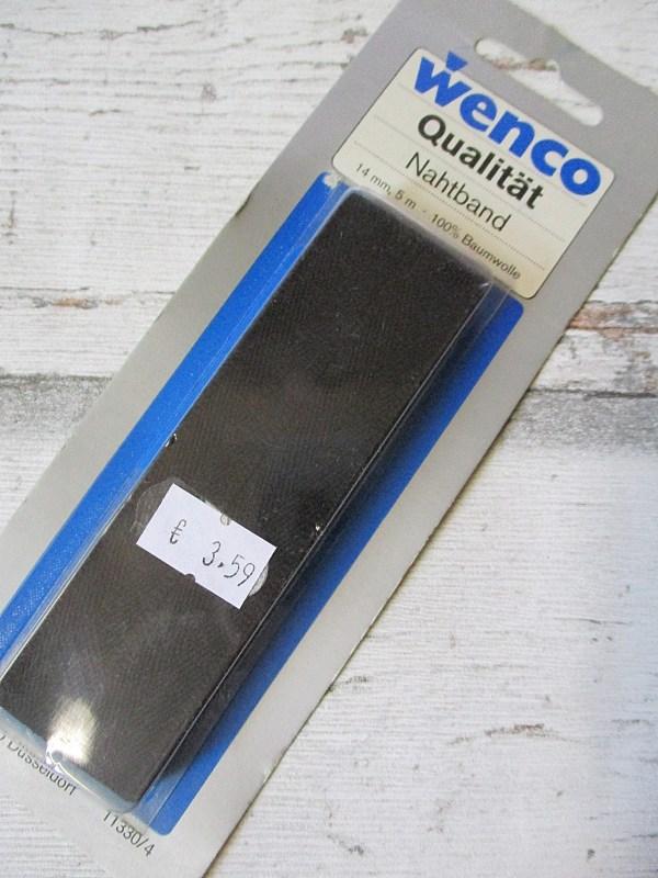 Nahtband Wenco schwarz Baumwolle 14mm 5m - Woolnerd