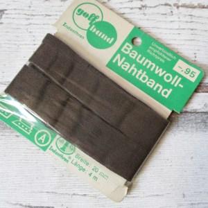 Nahtband golfband Baumwolle Indanthren braun 20mm kochfest - Woolnerd