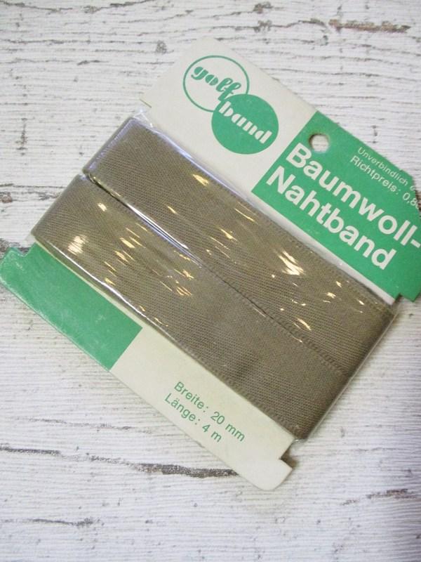 Nahtband golfband Baumwolle dunkelbeige 20mm 4m - Woolnerd