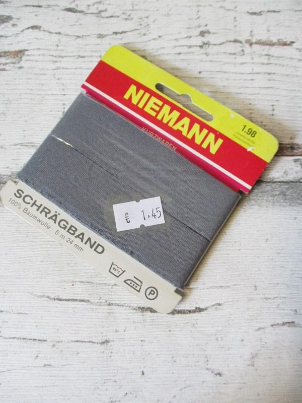 Schrägband NIEMANN grau Baumwolle 24mm ungefalzt - Woolnerd