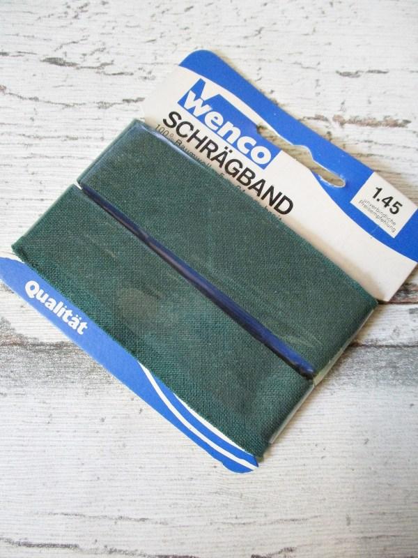 Wenco Schrägband ungefalzt dunkelgrün Baumwolle 24mm - Woolnerd