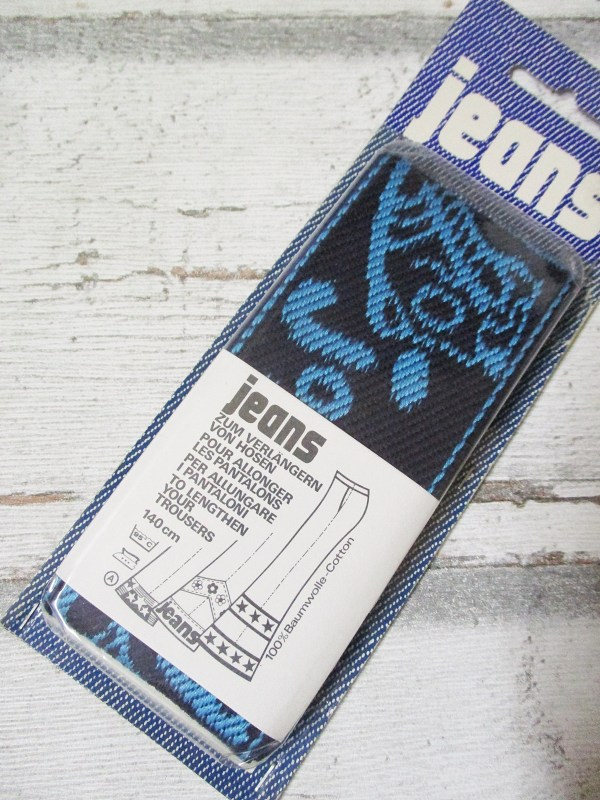 Jeansborte Baumwolle Vintage 70er schwarz hellblau Jogging - Woolnerd