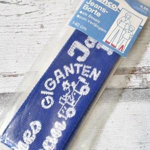 Jeansborte Polyacryl Vintage 70er blau weiß James_Dean Giganten - Woolnerd
