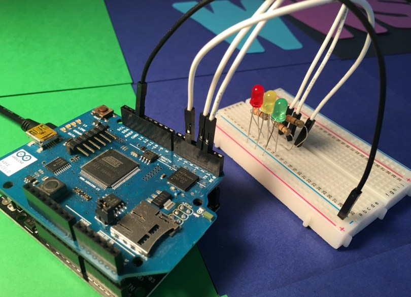 Arduino Uno And Attached WiFi Shield With LEDs