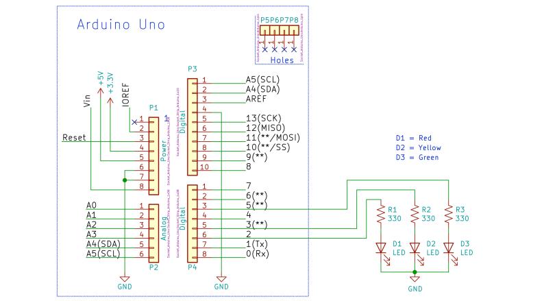 Arduino Uno LEDs Schematic