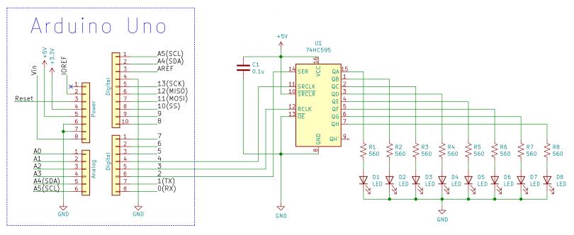 Arduino Uno And 74HC595 Schematic