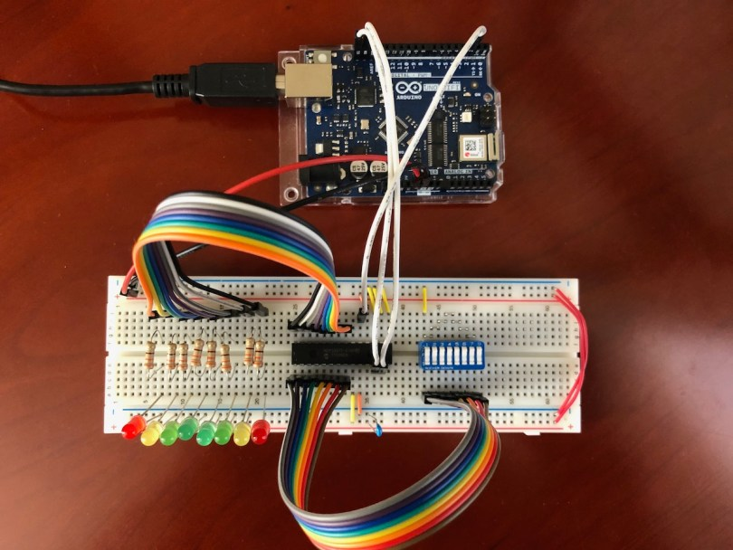 Completed Arduino Uno And MCP23017 Digital I/O Circuit