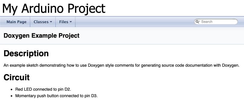 Doxygen Arduino Main Page