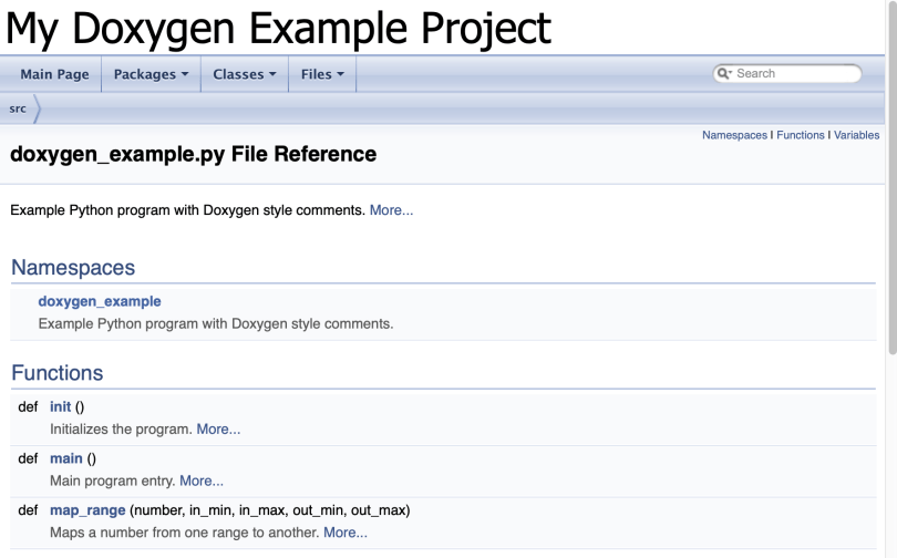 File Page (doxygen_example.py) Of Doxygen Generated Documentation