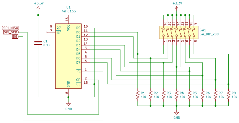 Schematic Diagram Of A 74HC165 Digital Inputs Circuit Connected To A CircuitPython Compatible Board