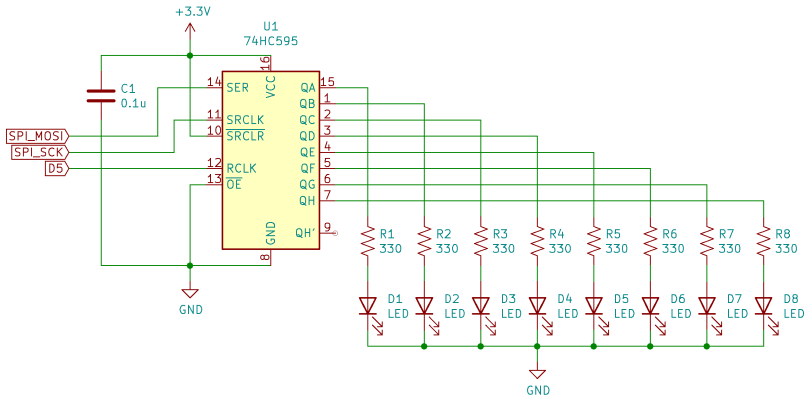 Schematic Diagram Of A 74HC595 Digital Outputs Circuit Connected To A CircuitPython Compatible Board