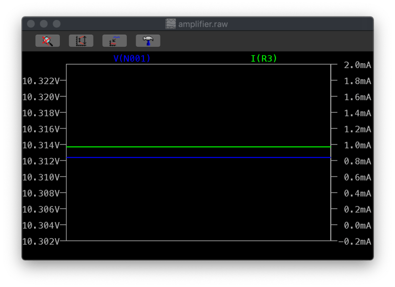 Waveform Viewer Showing V(N001) Voltage And I(R3) Current