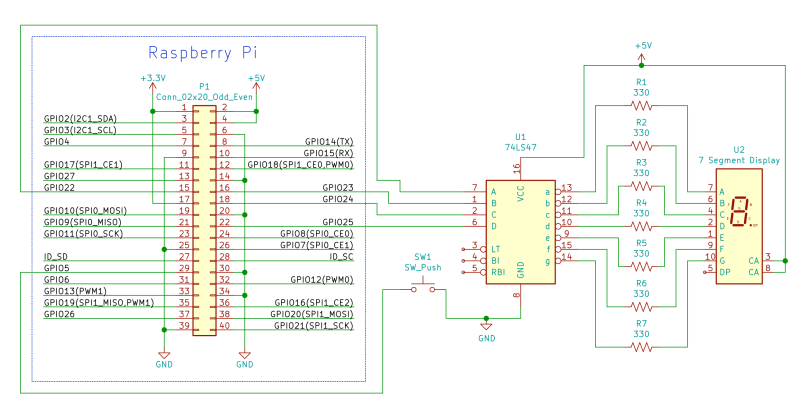 Raspberry Pi BCD 7-Segment Display Schematic
