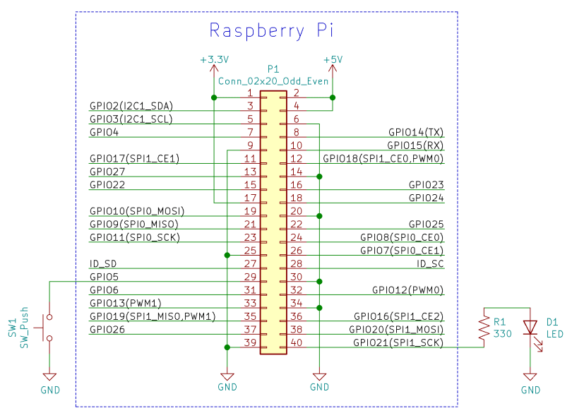 Raspberry Pi LED And Button Schematic