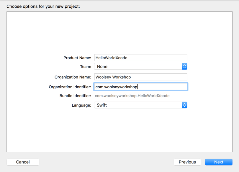 Xcode HelloWorldXcode Project Choose Options Window