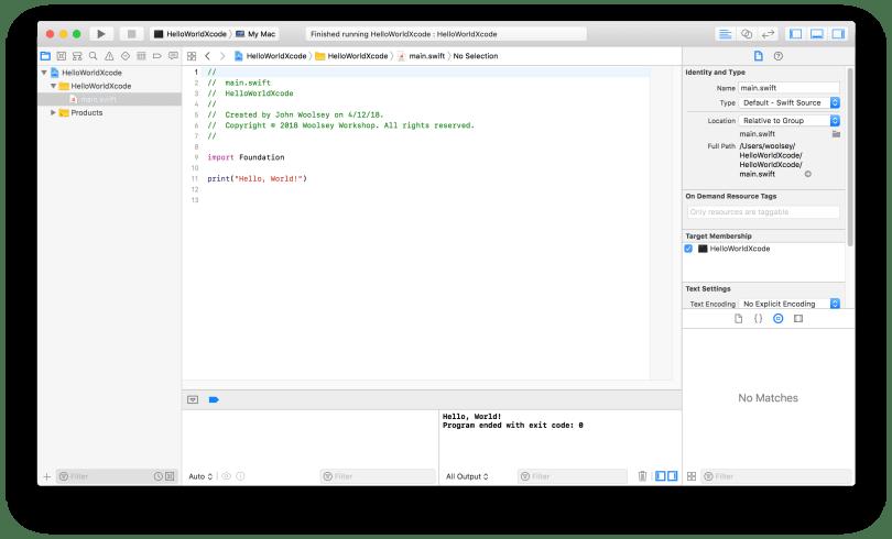 Xcode HelloWorldXcode Project Editor Window