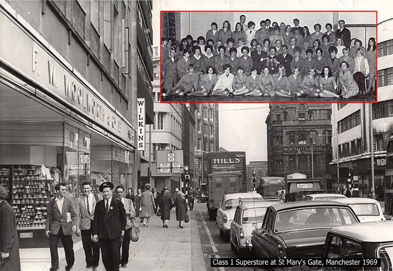 A typical large Woolworth store in the 1960s - the superstore in St Anne's Gate, Manchester (Store 230). Inset there is a team photograph of the full store staff.