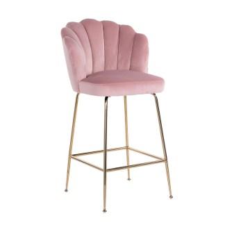Barstoel Pippa Pink Velvet / gold (Quartz Pink 700)
