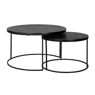 Salontafel Bolder set van 2 aluminium zwart (Zwart)