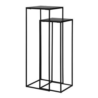Pilaar Bolder set van 2 aluminium zwart (Zwart)