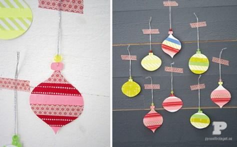 kerstballen van washi tape via Charlotte's fancy