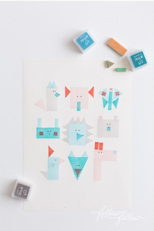 van eenvoudige vormen kun je een kunstwerkje bouwen! via becreativeanddoit