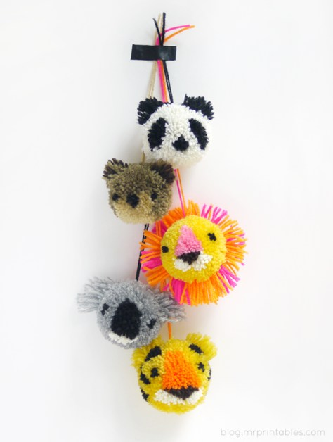 DIY idee pompom dieren via mr printables