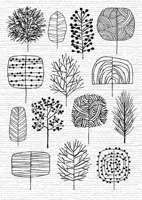 doodle bomen via i heart prints and patterns