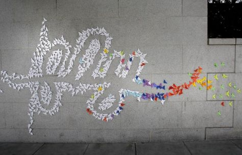 origami streetart van the upsideup