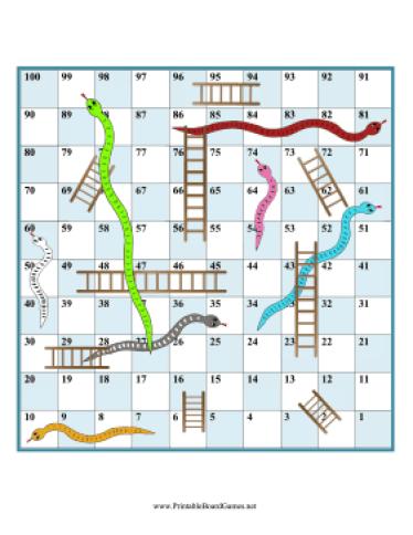 snakes and ladders om uit te printen via printable boardgames