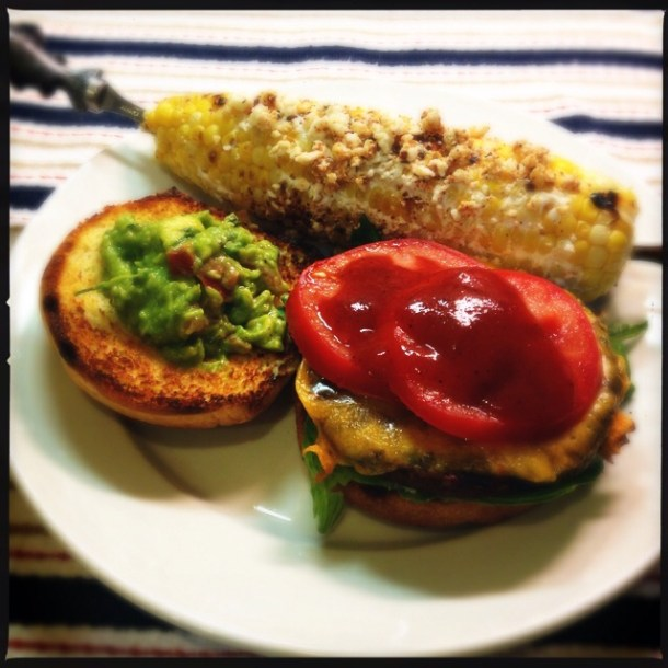 Black Bean Burgers with Guacamole and Oaxacan Street-Style Corn