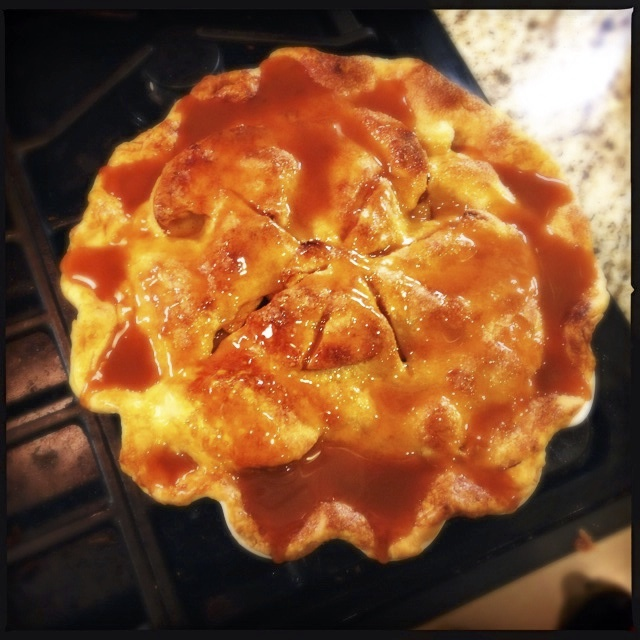 Apple pie with caramel topping